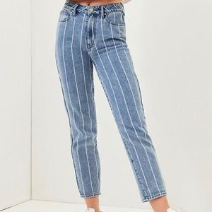 PacSun Striped Mid Rise Mom Jeans